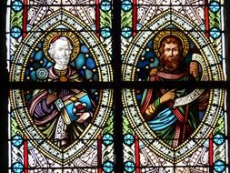 images of saints on the church window