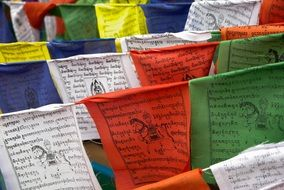 prayer colorful flags in buddhism