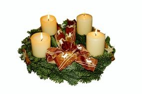 christmas advent wreath and candlelight