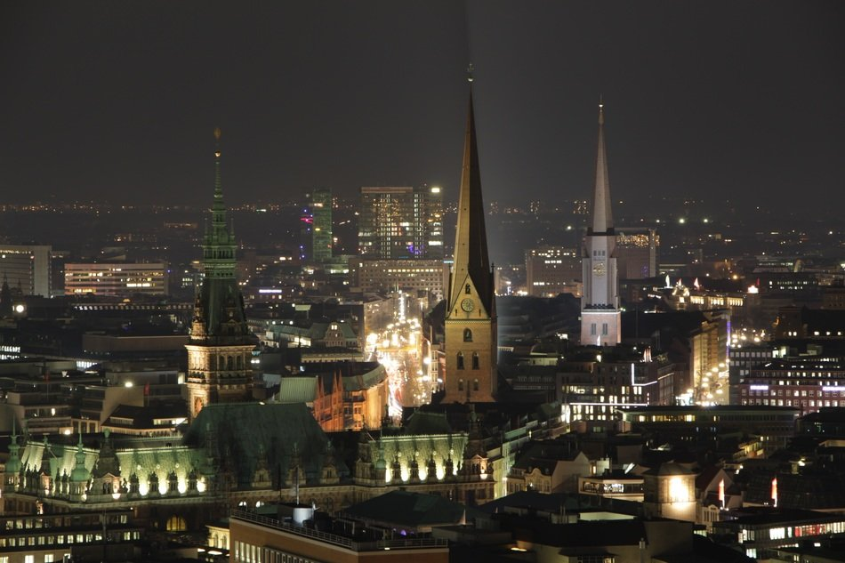 panorama of the night of Hamburg