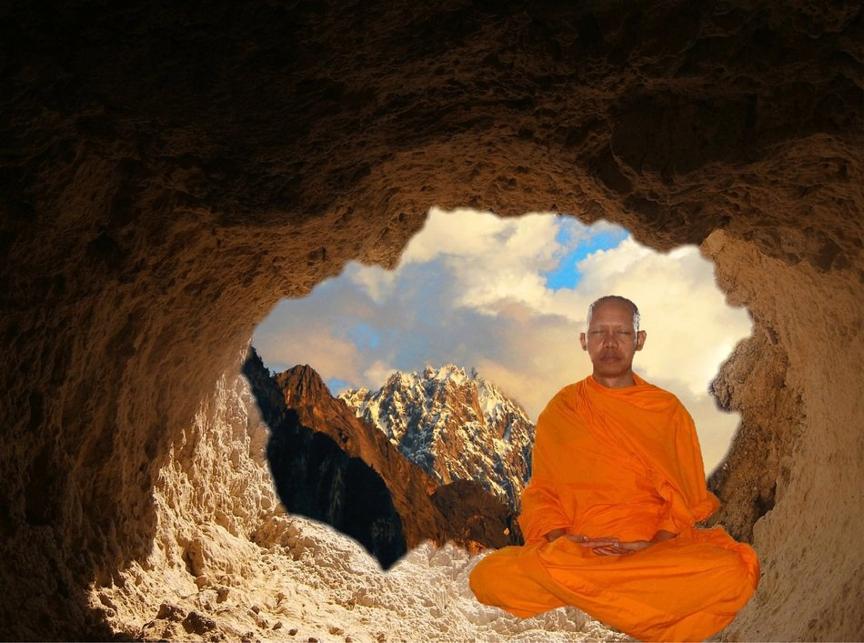 buddhist meditation in the cave