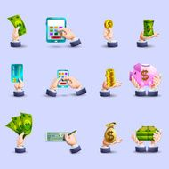 Hands payment flat icons set
