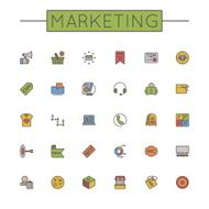 Vector Colored Marketing Line Icons