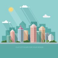 landscape summer cityscape illustration city design Flat style vector