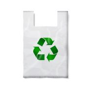 Blank plastic bag with green recycling sign isolated on white