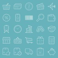 Sales and shopping thin lines icons set