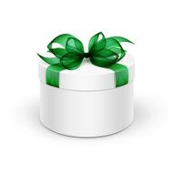 White Round Box with Green Ribbon and Bow Isolated