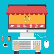 Flat design concepts online shopping and e-commerce N2