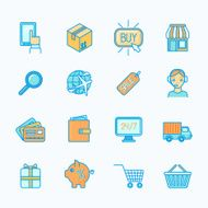Shopping e-commerce icons set flat line