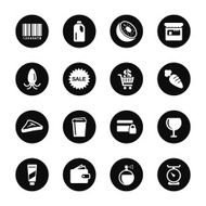 Supermarket Icons Set 2 - Black Circle Series N2
