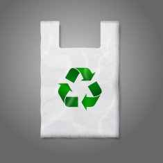 Blank white plastic bag with green recycling sign isolated on