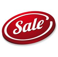 Red oval sale button N2