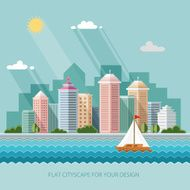 landscape summer cityscape illustration city design Flat style