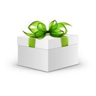 White Box with Green Ribbon and Bow Isolated on Background N2