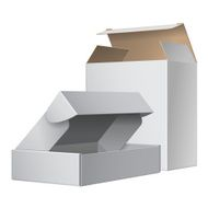 two white cardboard packing boxes