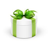 White Round Gift Box with Green Ribbon and Bow Isolated N2