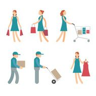 Vector Shopping Characters and employees of delivery on White Background N2