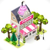 Pastry Shop City Building 3D Isometric N2