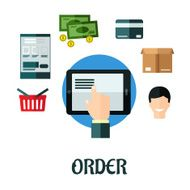 Order and shop online flat concept N2
