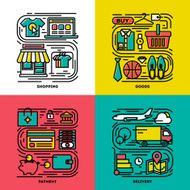Flat line icons set of shopping goods payment delivery N2