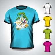 t-shirt set on a summer holiday theme with palm trees N2