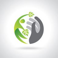 Human hands protecting green leaves save earth concept