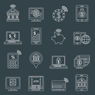 Mobile banking icons outline