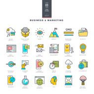 Set of line modern color icons for business and marketing N2