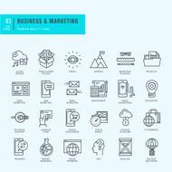 Thin line icons set Icons for business marketing e-commerce