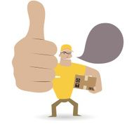 Gesturing(Hand Sign) Deliveryman showing thumbs up