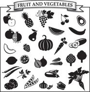 Fruit and vegetables silhouette-icon set