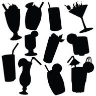 Vector silhouette of various beverages