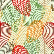 Outline autumnal leaves seamless pattern N2
