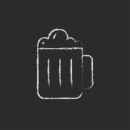 Mug of beer icon drawn in chalk N2