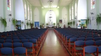 rows of seats in catholic church