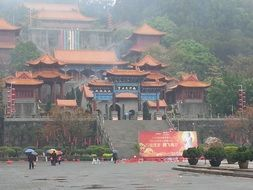 foggy panorama of a temple in China