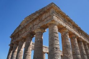 ruins of a temple in sicily on a sunny day