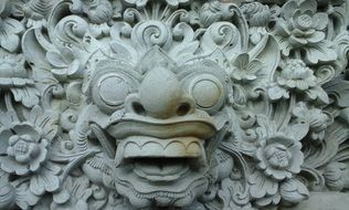 stone carving on the temple wall