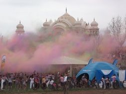 pink smoke near the temple