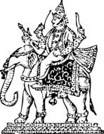black and white drawing of a goddess on an elephant
