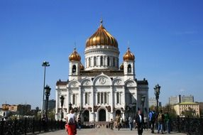 russian orthodox church with golden domes