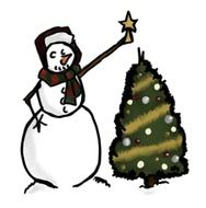 snowman near the christmas tree as a graphic image