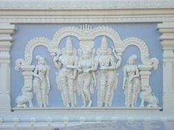Hindu sculptures on the wall