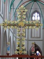 A picturesque cross in the church in Schwerin