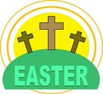 "crosses over the inscription ""easter"" as a graphic image"