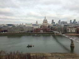 panorama of the cathedral, river Thames and magnificent bridge in London