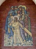 mosaic on the wall image of pilgrims