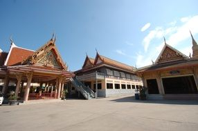 buddhist temples on square, thailand, bangkok