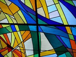 Colorful stained glass window in church