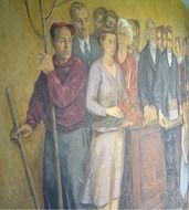 Colorful mural in South Solon Church